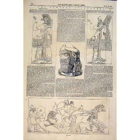 Caza Colosal 1847 Del León De La Estatua De La Cabeza De Las Esculturas De Nimroud [Cocina Y Hogar]