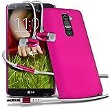 ( Hot Pink ) LG G2 D802 Schutz- Hybrid stark Shell-Haut-Kasten-Abdeckung mit LCD-Display Schutzfolie & Aluminium In-Ear Ohrhörer Stereo-Ohrhörer mit Hands Free Mic & On-Off-Taste Einbau durch Spyrox