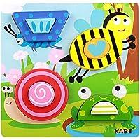 NaiCasy Puzzle Ladrillos Juguete Dibujos Animados Madera 3D Tridimensional Puzzle Ladrillos Juguete frühes Aprendizaje Juguete para el Aprendizaje Insectos