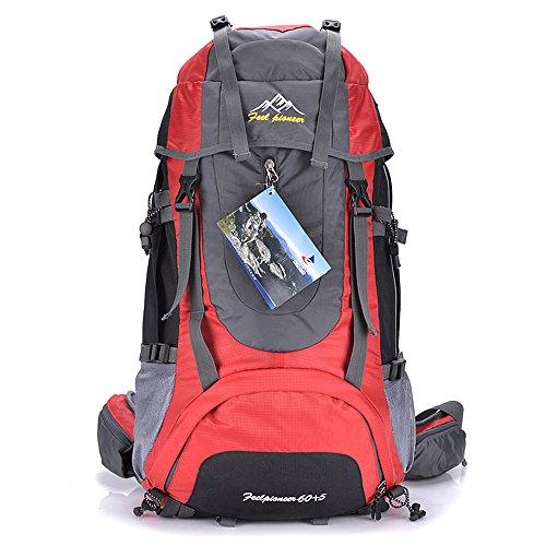 Skysper- Impermeabile Zaino da Trekking Multifunzione per Sport 56-75L Rosso
