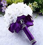 ZEZKT-Home Blumenstrauß Romantische Hochzeit Bunte Künstliche Hochzeitsstrauß Rosen Seidenblumen Seidenrosen Kunstblumen Blumen Brautstrauß der Braut Kunstblumen Künstliche (Violett, 25*20cm)