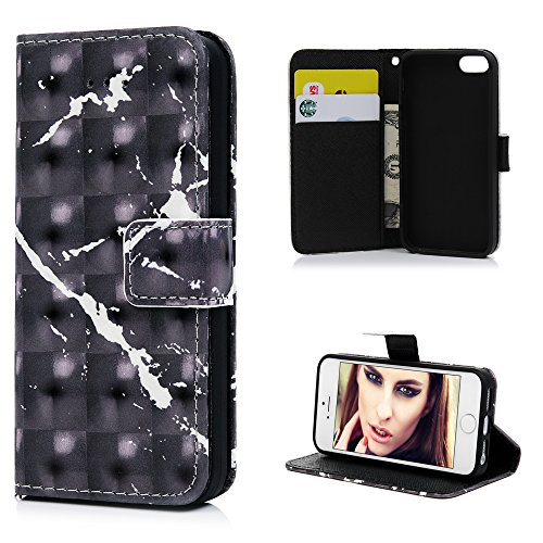 MAXFE.CO Lederhülle Case Schutz für iPhone 5 SE PU + TPU Innere Etui Schale Brieftasche Marmor 3D Design Flip Cover mit Kartenslots Magnetverschluß Standfunktion Schwarz Schwarz