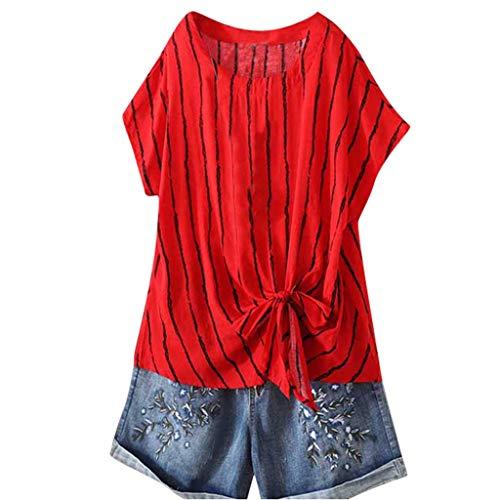 Andouy Damen Mode Vertikale Streifen V-Ausschnitt Lose Sieben-Viertel-Ärmel Gr.40-54 T-Shirt Tops(L(44).Rot-Bow) -