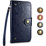 iPhone SE/iPhone 5 / iPhone 5s Wallet Case GORASS Leather Flip Cover Full Body Protective Shockproof Case [Card Holder] [Hand Strap] for Apple iPhone SE/iPhone 5 / iPhone 5s, Blue
