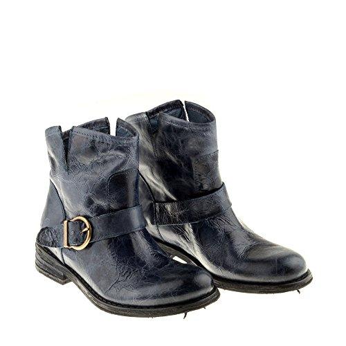 Felmini Chaussures Femme - Tomber en Amour avec Gredo A946 - Bottes Classiques - Cuir Véritable - Bleu Bleu