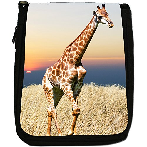 African giraffa Medium Nero Borsa In Tela, taglia M Giraffe In The Sunset