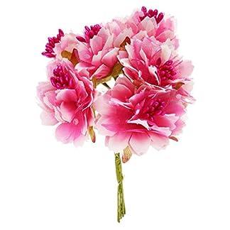 Cikuso 6pzs 4cm Flor Clavel Artificial Ramo de Flores de Seda de estambre para la Decoracion de la Boda DIYAlbum de Recortes Flor Falsa ROSEO