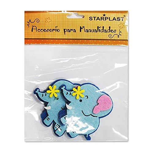 131740 - Figura de fieltro con forma de elefantes, 12 unidades