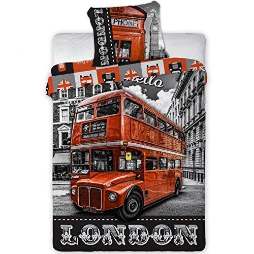 Parure de lit London Bus rouge - Housse de couette réversible lit 1 personne