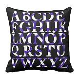 Home Dekorative Lila und Weiß Zickzack Englisch Alphabet quadratisch Überwurf Kissen Personalisierte Kissen 40,6x 40,6cm, Colored, 40,6 x 40,6 cm (16 x 16 Zoll)