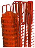 UvV-Reflex Set 50m Fangzaun orange, 10 Absperrleinenhalter rot, Absperrnetz, Maschenzaun, Bauzaun Rolle Kunststoff 110 gr (5,5 kg)