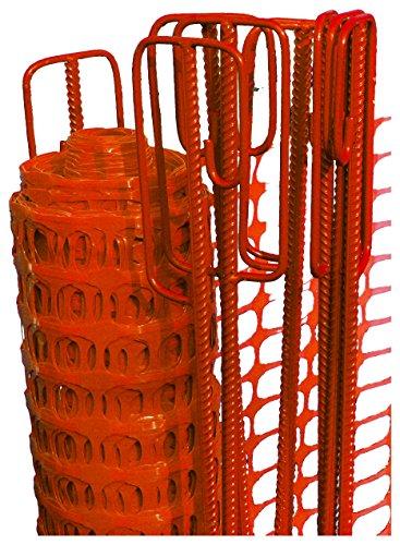UvV-Reflex Set 50m Fangzaun orange, 10 Absperrleinenhalter rot, Absperrnetz, Maschenzaun, Bauzaun Rolle Kunststoff 110 gr (5,5 kg) Test