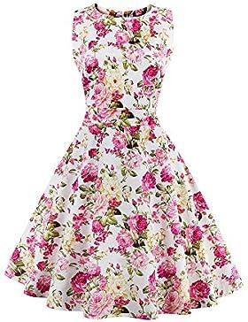Botomi 50 'vintage Elegante Floral Mujeres Sin Mangas Vestido de Fiesta