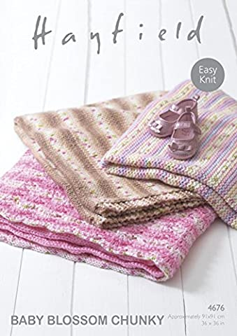 Sirdar Hayfield 4676 Knitting Pattern Easy Knit Baby Blankets in Hayfield Baby Blossom Chunky