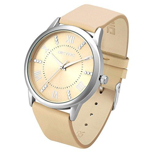Dictac Legierung Armbanduhr mit Swarovski Kristall echtes Leder Armband japanischen Bewegung ROHS Zertifizierung 32 Meter wasserdichte elegante Uhr für Mädchen Damen bestes Geschenk