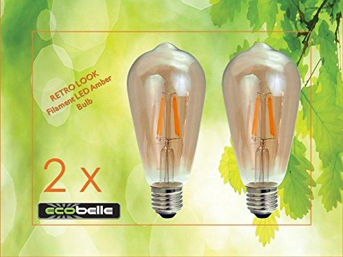 ECOBELLE 2 x Ampoules LED E27 Filament Vintage Rétro Verre Ambré 4W 320 Lumen Couleur Blanc Chaud 2700K Φ64*140mm, pour Décoration de Maison, Bar, Restaurants, Café, Club