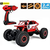 Zest 4 Toyz 2.4Ghz 1/18 RC Rock Crawler Vehicle Buggy Car 4 WD Shaft Drive High Speed Remote Control Monster Off Road Truck... (Red)