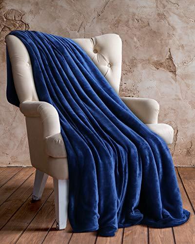 Utopia bedding coperta in pile di flanella (marina, 127 x 152 cm) - tessuto in microfibra di peluche - coperta leggera, morbida e calda per divano