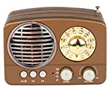 #2: Noizzy Box Retro XS Vintage Classic Portable Bluetooth Speaker with LED Light/Display/FM Radio/Support Micro TF SD Card/USB Input, AUX Line-In (Brown)