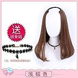 WIAGHUAS Perücken Langes lockiges Haar Welle U-förmige halbe Perücke Lange gerade Haare Perücken Keine Stealth Simulation von langen Haaren,B hellbraun