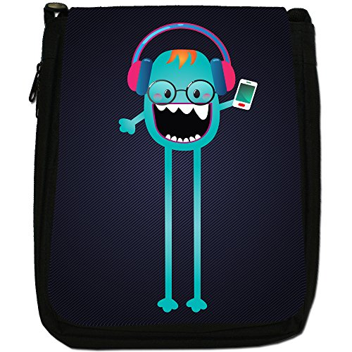 Funny Freak Hipster Trendy Monsters-Borsa a tracolla in tela, colore: nero, taglia: M Nero (Skinny Leg Music Mad Monster)