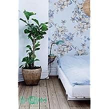 Romántico Patrón de flores-Papel pintado, diseño floral papel pintado-Papel pintado, diseño floral de flores extraíble de pared adhesivo diseño de flores de papel autoadhesivo., 53 Cm wide by 243 Cm Tall