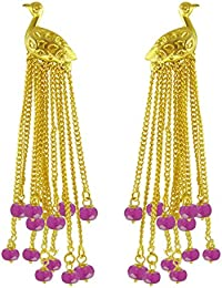 Aastha Jain Pink Bird Sterling Silver(18K Gold Polish) Earring For Women