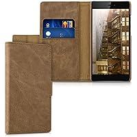 kalibri Leder Hülle James für Huawei P8 - Echtleder Schutzhülle Wallet Case Style mit Karten-Fächern in Cognac