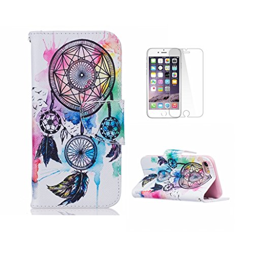 Fatcatparadise (TM) Custodia con design a flip per iPhone 5, 5S e SE, con protezione per lo schermo in vetro temperato, antigraffio, con retro  morbido in silicone, motivo decorativo colorato di alta  Windmill