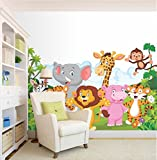 #4: PRINTELLIGENT 'Jungle Cartoon Cute Animals' Wall Sticker (PVC Vinyl, 91.45 cm x 63.5 cm)