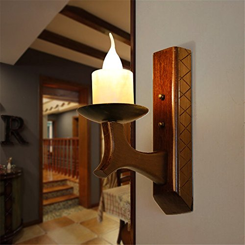 YU-K Chambre Simple Vintage wall lamp creative living salle à manger chambre lumières lumières allée bougeoir Bougie Retro lampe murale en bois imitation lampe murale lampe mur de marbre (280 * 300mm)