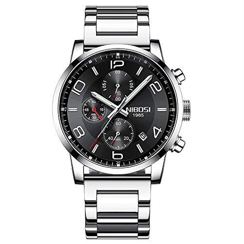 Arm Fluoreszierende Lupe (Smiler+ Herren Edelstahl Uhr Klassische Luxus Zufällige Quarz Geschäfts Uhren mit Chronograph Sport 30M Wasserdicht Multifunctions)