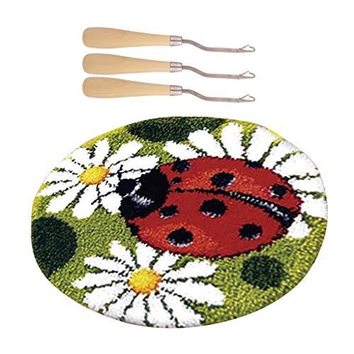 perfk Knüpfset Haken Kit, Marienkäfer Knüpfteppich DIY Handwerk Knüpfpackung zum Selber Knüpfen Teppich für Kinder, Erwachsene