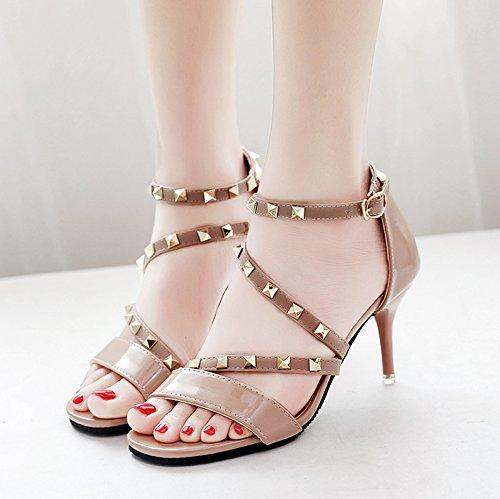 XY&GK Frau Sommer Leder Sandalen Sommer Fein mit High Heels Fashion Style Niet All-Match Frauen Sandalen, komfortabel und schön 37 naked Pink