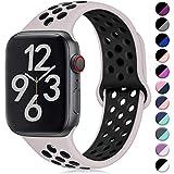 Hamile Kompatibel für Apple Watch Armband 38mm 40mm,Dual Farbe Weiches Silikon Atmungsaktiv...