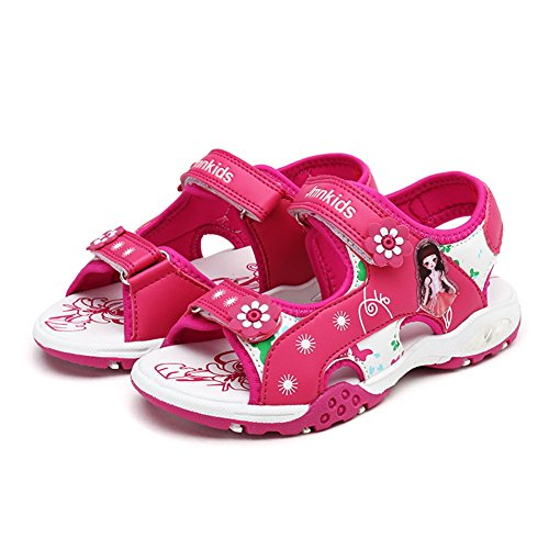 Samber Sandales Fille Bébé Fille Sandales Bout Ouvert Plat Enfant Été Chaussures Sport Plage Respirant Chaussures Souple Randonnées Sportives Rose