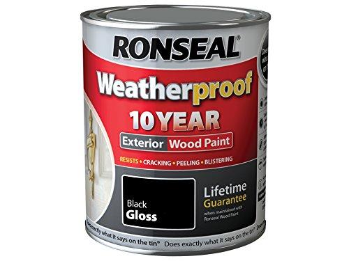 ronseal-rslwpblk25l-25-litre-weatherproof-exterior-wood-paint-black-gloss