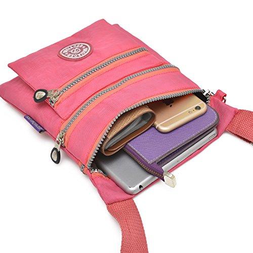 Supamodern tracolla in nylon impermeabile per donne a tracolla iPad bag Phone bag leggero sacchetto esterno al giorno per donne, donna, Purple Red, S Dark Blue