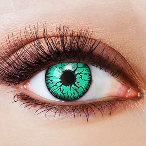 n Grün Motivlinsen Ohne Stärke mit Motiv Grüne Linsen Halloween Karneval Fasching Cosplay Kostüm Green Blood Vampir Reptil Eye ()