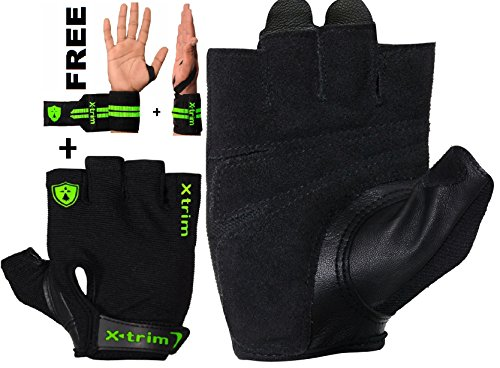 "XTRIM - AMIGO ( M / L / XL / XXL ) REAL LEATHER - GYM GLOVES - FOR MEN- Washable Real Leather, Durable, Double Stitched, 4-way Stretch Back Mesh, Half Finger Length, No Sweat, Extra Foam Padded, Luxurious Closure. Uses: Weight Lifting, Gym Gloves, Fitness Gloves, Work out Gloves for Palm Protection and comfort. FREE !!! 14 inches / 35 cm EXTRA WIDE SPORTS GRADE ""Wrist support ""!"