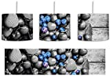 Früchtetraum mit Beeren im Korb schwarz/weiß inkl. Lampenfassung E27, Lampe mit Motivdruck, tolle Deckenlampe, Hängelampe, Pendelleuchte - Durchmesser 30cm - Dekoration mit Licht ideal für Wohnzimmer, Kinderzimmer, Schlafzimmer