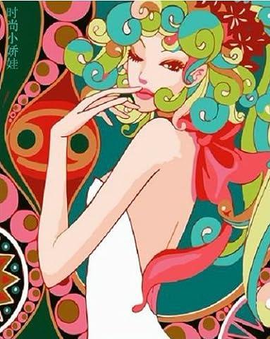 Bricolage numérique toile peinture à l'huile de décoration par les kits de nombres Fashion Lady 16 * 20 pouces.