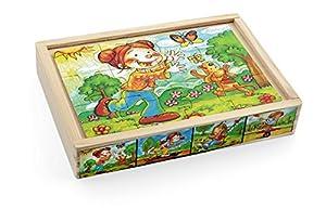 Pino Jungle Puzzle Set (4Unidades), diseño Floral, 12Piezas, Multicolor