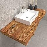 Mensola in legno piano lavabo da bagno | Mensola in legno rustico grezzo | Misura 120x50x6 cm | Mensola da bagno in legno massello con frontale scortecciato taglio tronco rustico