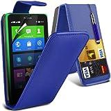 (Blau) Nokia X Custom Designed Stilvolle Accessoires zur Auswahl Schutzmaßnahmen Kunst Credit / Debit-Karten-Leder Flip Case Hülle, Retractable Touch Screen Stylus Pen & LCD-Display Schutzfolie von Hülle Spyrox