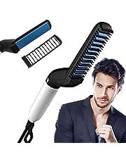 VUBA Quick Beard Straightener Hair Styler Comb, Perfuw 2019 Upgraded Electric Anti-Scald Modeling Comb Men's Hair Straightening Comb, Anti Static, Efficient & Portable