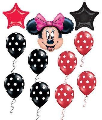 Minnie Maus Rot & Schwarz Polka Dots Star Mylar Luftballons Party Set 9ct (Rot Party Minnie Maus Supplies)