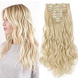Clip in Extensions wie Echthaar Blond Haarteile 8 Tresssen günstig komplette Haarverlängerung Gewellt 24'(60cm)-140g