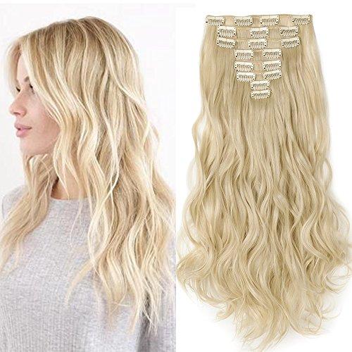 """Clip in Extensions wie Echthaar Blond Haarteile 8 Tresssen günstig komplette Haarverlängerung Gewellt 24""""(60cm)-140g"""