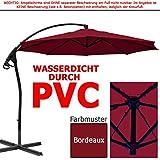 habeig® LUXUS Ampelschirm 3m Bordeaux rot WASSERDICHT durch PVC Schirm